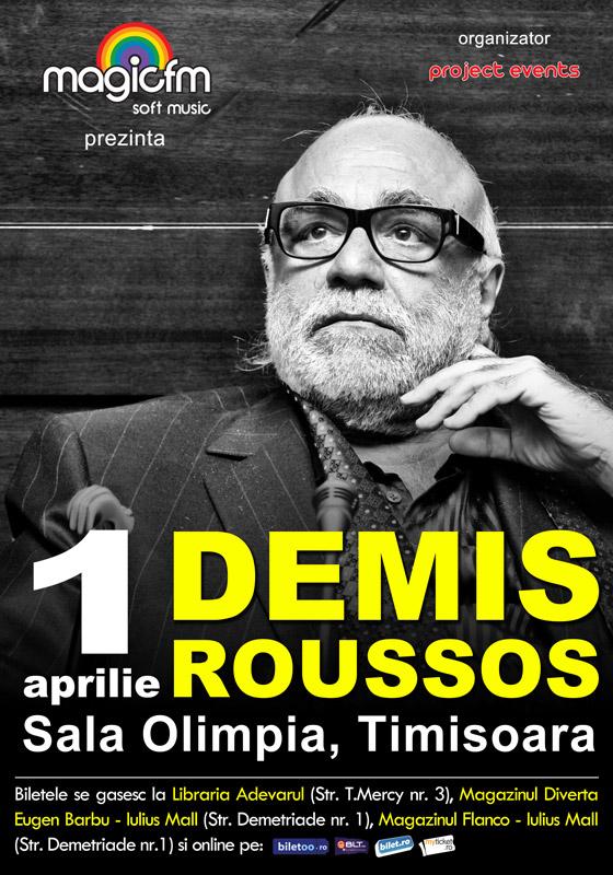 Demis Roussos concerteaza la Timisoara pe 1 aprilie, la Sala Olimpia!
