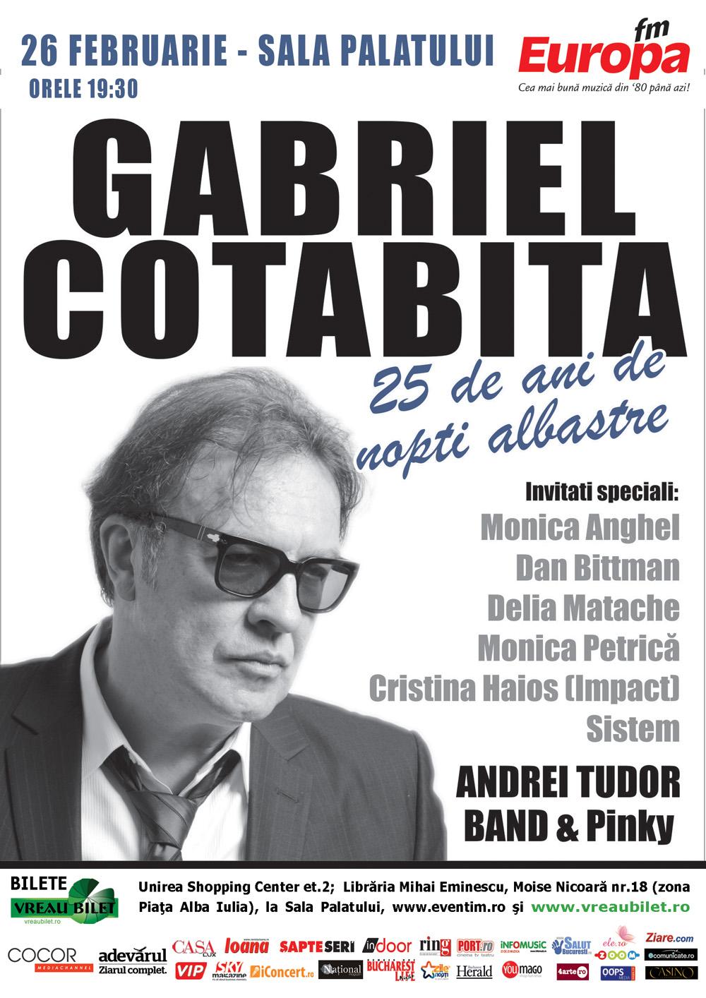 """Concertul Gabriel Cotabita """"25 de ani de nopti albastre""""  se va desfasura pe 26 februarie"""