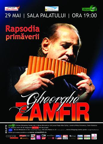 """Gheorghe Zamfir sustine """"Rapsodia Primaverii"""" la Sala Palatului"""