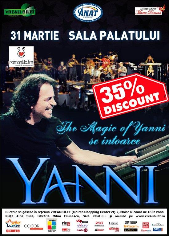 Data concertului YANNI a fost modificata