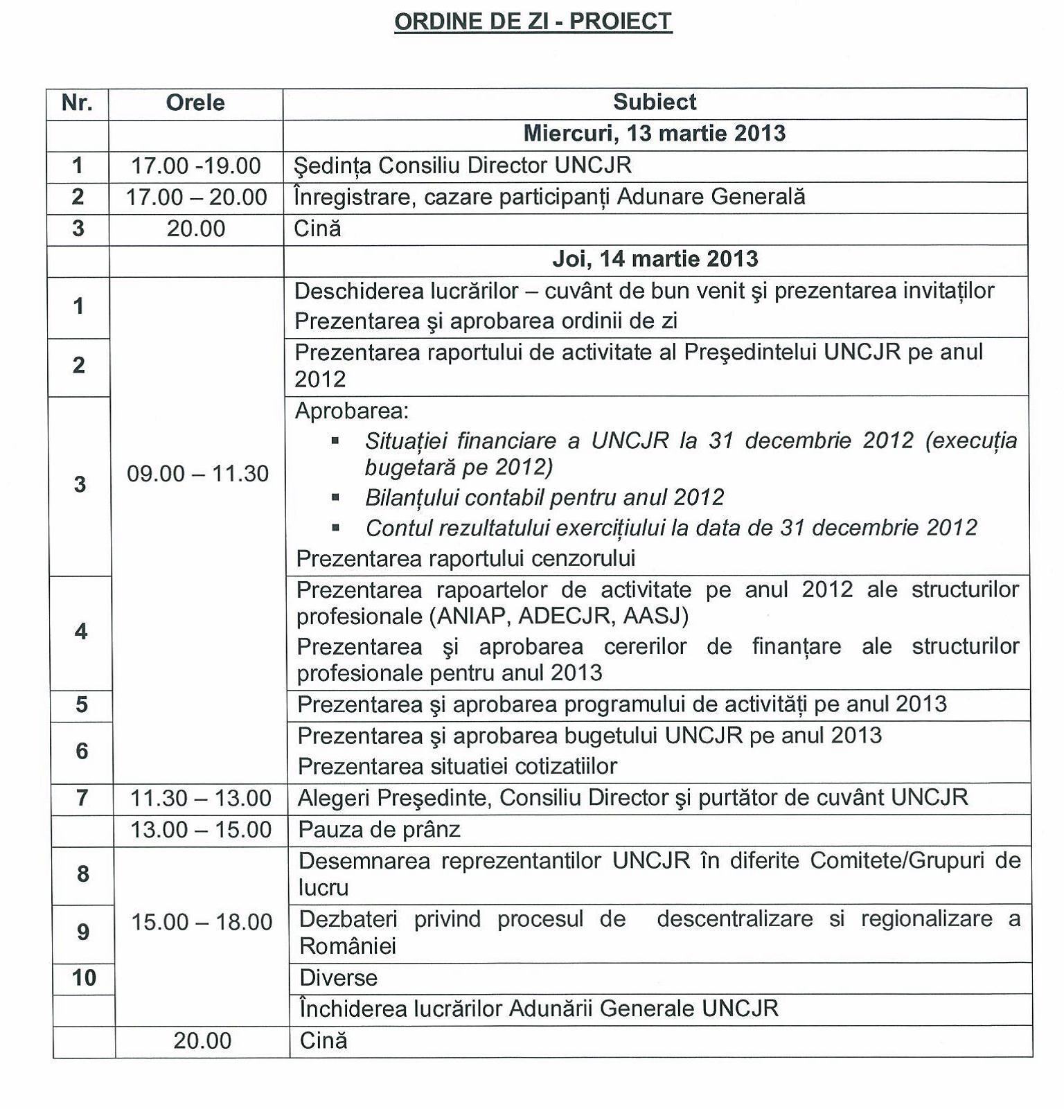 Agenda de lucru a Adunarii Generale a UNCJR