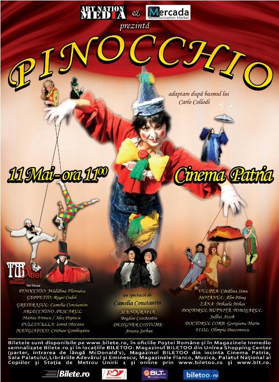 """Teatru pentru copii: """"Pinocchio"""" –  baietelul nazdravan vine in premiera la Cinema Patria!!!"""