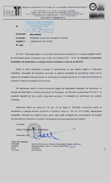 RADET Bucuresti incarca instalatiilor de alimentare cu energie termica pentru sezonul 2013-2014