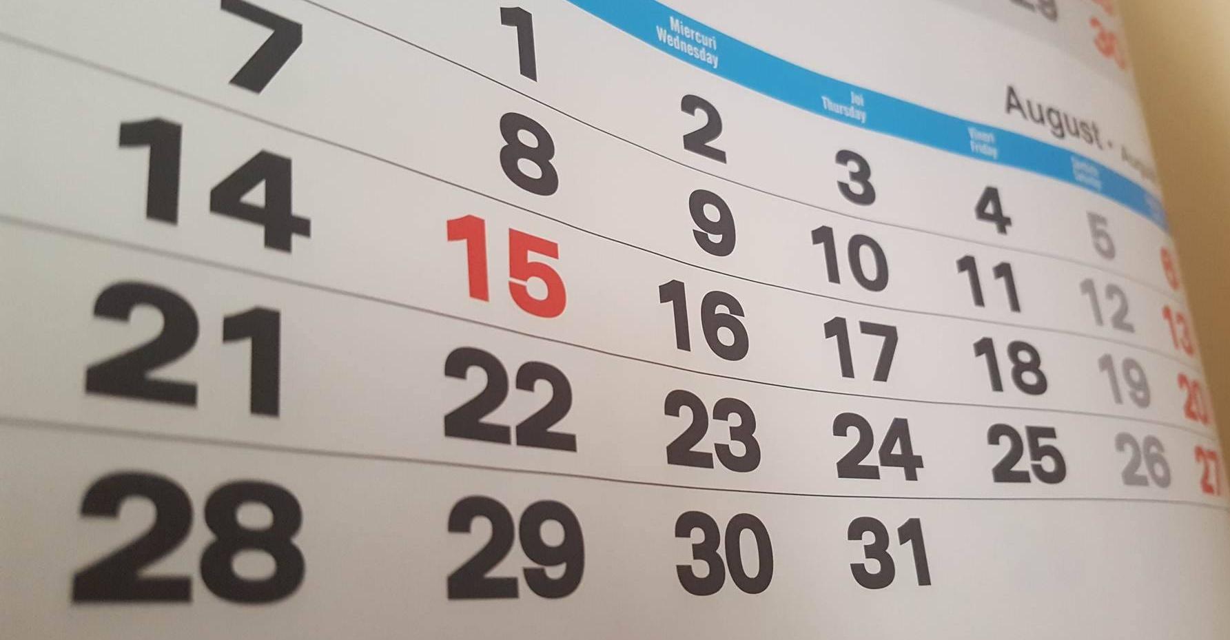 Câte zile libere sunt în 2018