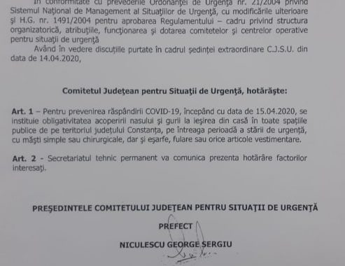 Purtarea mastilor obligatorie in judetul Constanta