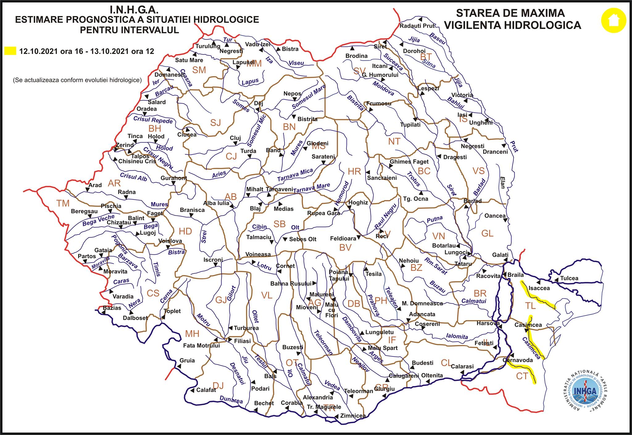 Atenționare hidrologică pentru râurile din Dobrogea